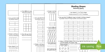 Shade 1/2, 1/4 or 2/4 of a Shape Differentiated Activity Sheets English/Polish - Fraction, 1/2, 1/4, 2/4, half, halves, quarter, shape, Polish-translation