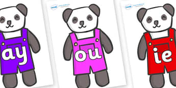 Phase 5 Phonemes on Panda Bears - Phonemes, phoneme, Phase 5, Phase five, Foundation, Literacy, Letters and Sounds, DfES, display