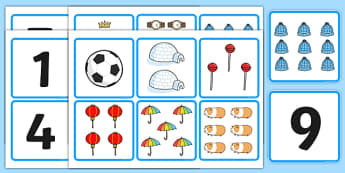 1-10 Number and Quantity Matching Cards - numeracy, numbers, subitising, matching, 1-10, numbers to 10, number matching cards, number and image matching cards, number and quantity matching cards, 1-10 matching cards