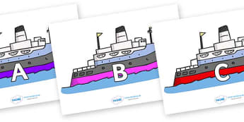 A-Z Alphabet on Boats - A-Z, A4, display, Alphabet frieze, Display letters, Letter posters, A-Z letters, Alphabet flashcards