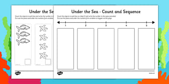 Under the Sea Themed 1-5 Count and Sequence Cut and Stick Activity - under the sea, count, sequence, cut out, stick, activity