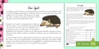 Der Igel Arbeitsblatt - spring, animals, hedgehog, Frühling, Tiere, Igel,German