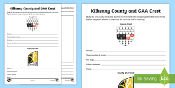 Kilkenny County and GAA Crest Activity Sheet - GAA Football All-Ireland Senior Championship, GAA Hurling All-Ireland Senior Championship, GAA crest