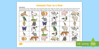 Different Animals Four in a Row Game - Spanish, Vocabulary, KS2, animals, four, row, connect, game, revision,Scottish