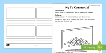 My TV Commercial Activity Sheet - Amazing Fact Of The Day, activity sheets, powerpoint, starter, morning activity, March, TV, TV comme