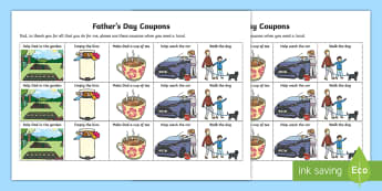 Father's Day Coupon Activity - NI, Father's, Day, 2017, chore, help, kind, Dad, daddy, helping, chores