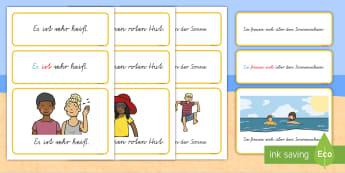 Sommer: einfache Sätze Wort- und Bildkarten - Sommer, einfache Sätze, Wort- und Bildkarten, Wortkarten, Bildkarten, Sätze, Satz, Satzbau, Kasus,