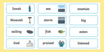 Jonah and the Big Fish Word Cards - Jonah, bible, big fish, God, Ninevah, fish, help, biblical story, word card, flashcards, cards, biblical stories, eaten by a fish, listen to god