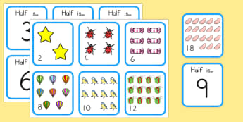 Halving Matching Activity - math, math games, matching cards