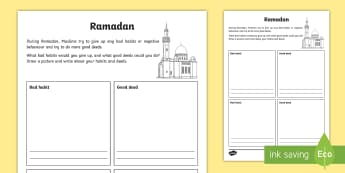 KS2 Ramadan Good Deeds and Bad Habits Activity Sheet - Ramadan, 26th May, good deeds, bad habits, changing behaviour, worksheet, reflect on behaviour, goal