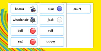 The Paralympics Boccia Word Cards - Boccia, ball, Paralympics, sports, wheelchair, visually impaired, word card, flashcards, cards, 2012, London, Olympics, events, medal, compete, Olympic Games
