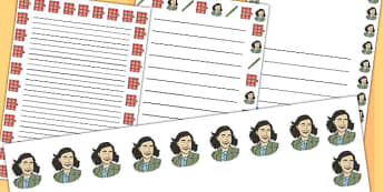 Anne Frank Portrait Page Borders - anne frank, page, borders