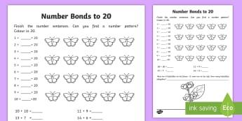 Number Bonds within 20 Activity Sheet - NI, KS1, Numeracy, addition, number bonds, mental maths, worksheet, homework, home learning. butterf