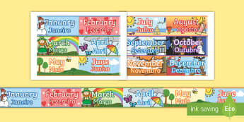 Months of the Year Display Borders English/Portuguese - Months of the Year Display Borders - display, borders, months, months of the yearenglish, eal