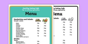 Healthy Eating Cafe Role Play Menu Polish Translation-Polish-translation