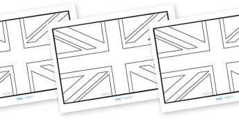 Union Flag Colouring Sheets - union flag, flag, union, Great Britain,United Kingdom, colouring, fine motor skills, poster, worksheet, vines, A4
