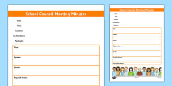 School Council Meeting Minutes Template - school council, meeting, minutes, template