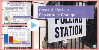 General Election Percentage Change PowerPoint - Event, electiopn,elcetion,General Election 08/06/2017, percentage, change, increase, decrease, conse