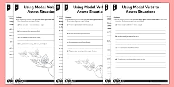 Using Modal Verbs to Assess Situations Differentiated Activity Sheet Pack - GPS, Modal, Auxiliary, worksheet