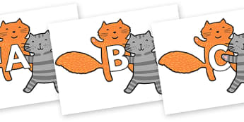 A-Z Alphabet on Cats to Support Teaching on What the Ladybird Heard - A-Z, A4, display, Alphabet frieze, Display letters, Letter posters, A-Z letters, Alphabet flashcards