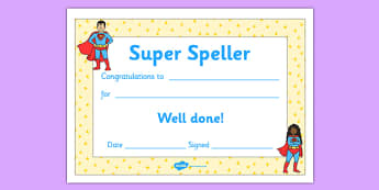 Super Spelling Award - super spelling award, super, spelling, spell, how to spell, skills, certificates, award, well done, reward, medal, rewards, school, general, certificate, achievement