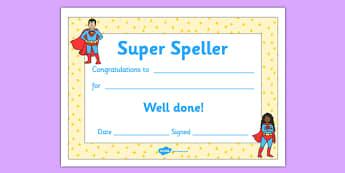 Super Spelling Award - super spelling award, super, spelling, spell, how to spell, skills, certificates, award, well done, reward, medal, rewards, school, general, certificate, achievement