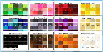 Colour Thesaurus Word Mats Pack - colour, colour thesaurus, thesaurus, word mat, pack