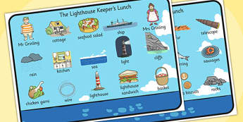 The Lighthouse Keepers Lunch Word Mat (Images) - The Lightkeeper's Lunch, Ronda Armitage, Mr Grinling, Mrs Grinling, seagulls, seaside, lunch, Hamish, resources, sandwhich, story, story book, story book resources, story sequencing, story resources, w