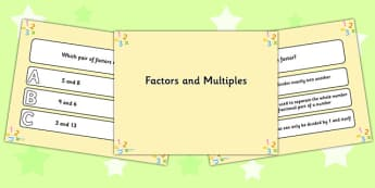 Factors and Multiples PowerPoint Quiz - factors, multiples, quiz