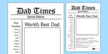 Father's Day Newspaper Card Template - fathers day, newspaper, card
