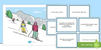 Karty z pytaniami Zimowe sporty - sport, zima, narty, ferie, zimowe, śnieg, sanki, bałwan, pytania, odpowiedz, odpowiedzi, obrazek,