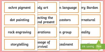 Aboriginal Art Word Cards - Aboriginal art, aboriginal history, Traditional Aboriginal art, aboriginal culture, Indigenous art,