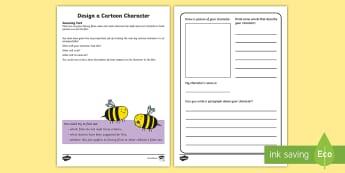 Design a Cartoon Character Activity Sheet - Amazing Fact Of The Day, activity sheets, powerpoint, starter, morning activity, January, ks1 amazin