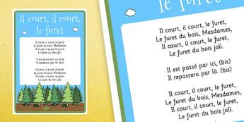 Il Court, Il Court, Le Furet Nursery Rhyme Lyric Sheet Poster French - french, il court il court le furet, nursery rhyme