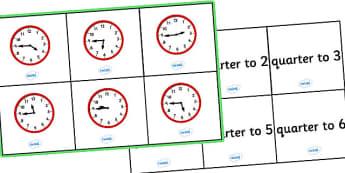 Quarter To Time Bingo - Time bingo, time game, Time resource, Time vocaulary, clock face, Oclock, half past, quarter past, quarter to, shapes spaces measures
