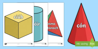 3D Shape Display Cut-Outs Gaeilge - Maths, Mata, Gaeilge, Irish, 3D shapes, cruth, cruthanna,Irish
