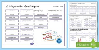 AQA Biology 4.7 Ecology Word Mat - Word Mat, biology, gcse, AQA, ecology, ecosystem, adaptations, community, ecosystem, habitat, popula