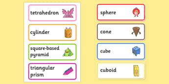 3D Shape Aliens Word Cards - 3d shape, aliens, word cards, word, cards