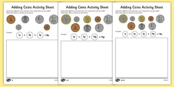 Adding Coins Worksheet - coins, money, money worksheet, money addition worksheet, coins addition worksheet, addition with coins, ks2 addition