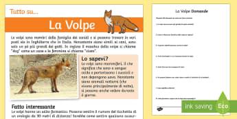 La Volpe Letteratura Comprensiva - la, volpe, volpi, lettura, leggere, domande, risposte, italiano, italian