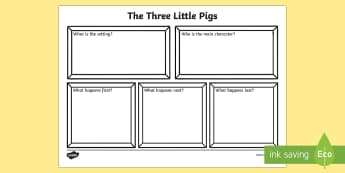 The Three Little Pigs Story Review Writing Frame - the three little pigs, three little pigs, three little pigs story review, three little pigs review