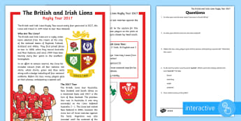 The British and Irish Lions Tour 2017 KS2 Differentiated Comprehension Go Respond Activity Sheets - KS2 Lions Tour Rugby, rugby, lions, new zealand, sam warburton, rugby union, six nations, rugby worl
