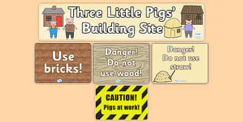 Three Little Pigs Building Site Role Play Pack - Three Little Pigs, building, house, role play, pack, play, building site, bricks, materials, straw, sticks