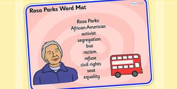 Rosa Parks Word Mat - rosa parks, word mat, topic words, topic mat, themed word mat, writing aid, mat of words, key words, keywords, key word mat, pictures