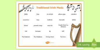 Traditional Irish Music Word Mat - ROI - St. Patrick's Day Resources, music, Irish traditional music, trad, Ireland, culture,Irish