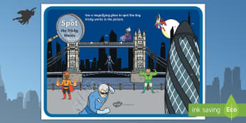 Phase 2 and 3 Tricky Words Superhero Magnifying Glass Display Poster - phase 2, tricky words, magnifying glass, activity, superheros, scene, poster,trciky words,trickyword