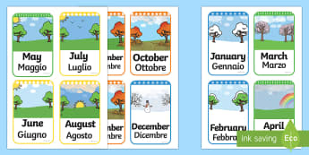 Months of the Year Flashcards Italian/English - Months of the Year Flashcards - months of the year, months, year, flashcards, flash cards,months of