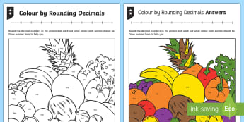 Colour by Rounding Decimals Differentiated Activity Sheets - decimals, decimal number, rounding, whole number, one decimal place, 1 decimal place, tenths