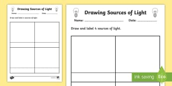 Sources of Light Worksheet - worksheet, light, sources of light, light worksheet, source, drawing sources of light, drawing, drawing sources, drawing light