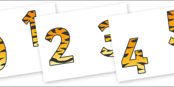 0-9 Display Numbers (Tiger Print) - Display numbers, 0-9, numbers, display numerals, display lettering, display numbers, display, cut out lettering, lettering for display, display numbers